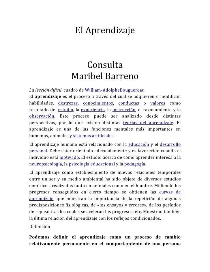 El Aprendizaje                       Consulta                    Maribel BarrenoLa lección difícil, cuadro de William-Adol...