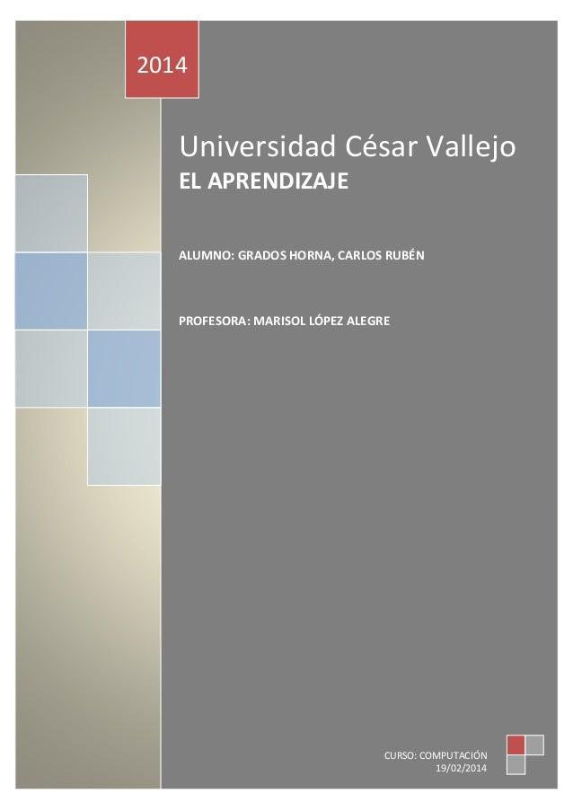 TABLA DE CONTENIDO  2014  Universidad César Vallejo EL APRENDIZAJE ALUMNO: GRADOS HORNA, CARLOS RUBÉN  PROFESORA: MARISOL ...