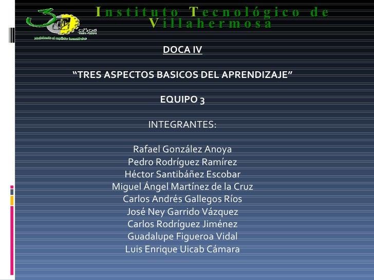 """DOCA IV """" TRES ASPECTOS BASICOS DEL APRENDIZAJE"""" EQUIPO 3 INTEGRANTES: Rafael González Anoya Pedro Rodríguez Ramírez Hécto..."""