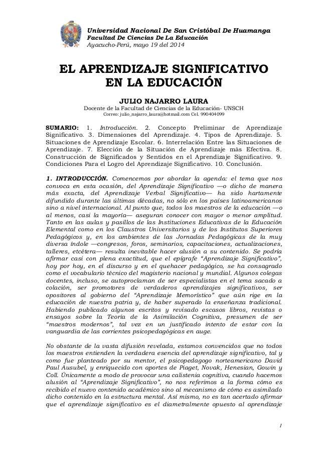 Universidad Nacional De San Cristóbal De Huamanga Facultad De Ciencias De La Educación Ayacucho-Perú, mayo 19 del 2014 1 E...
