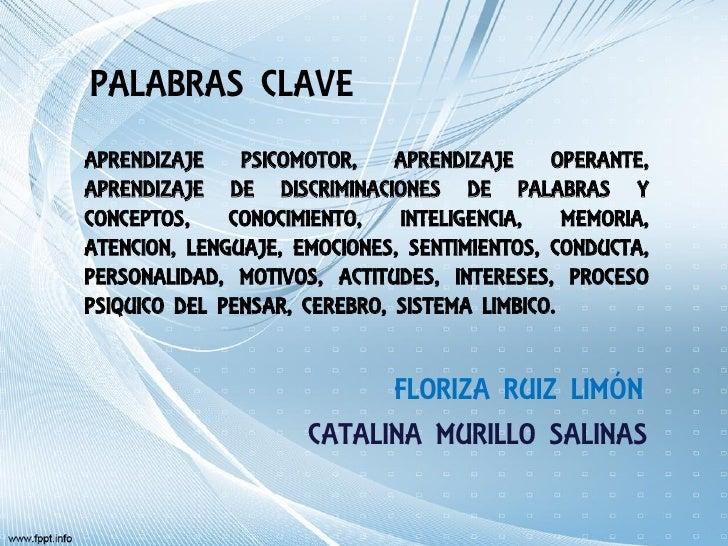 PALABRAS CLAVEAPRENDIZAJE    PSICOMOTOR,    APRENDIZAJE    OPERANTE,APRENDIZAJE DE DISCRIMINACIONES DE PALABRAS YCONCEPTOS...