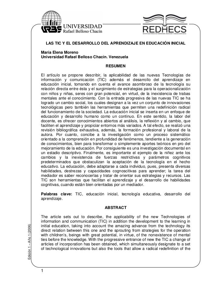 LAS TIC Y EL DESARROLLO DEL APRENDIZAJE EN EDUCACIÓN INICIAL                           María Elena Moreno                 ...