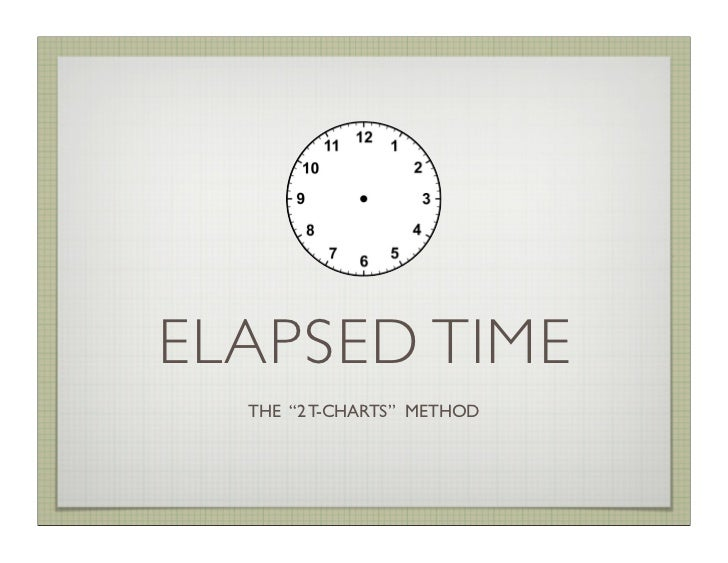"ELAPSED TIME  THE ""2 T-CHARTS"" METHOD"