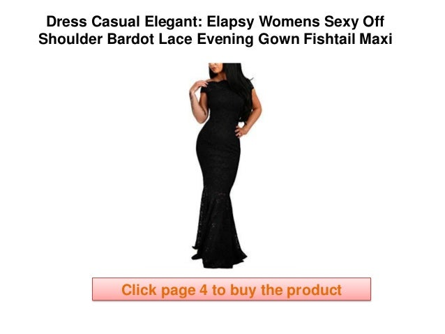 b654b6c2d860f elegant casual dresses Elapsy Womens Sexy Off Shoulder Bardot Lace Evening  Gown Fishtail Maxi Dress Clothing Online