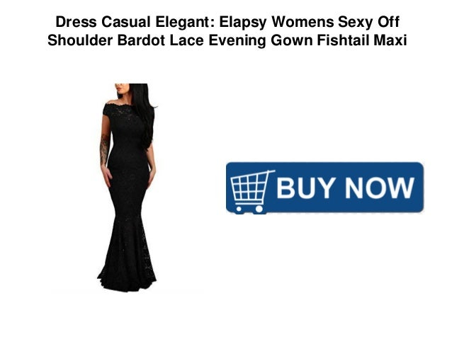 dc0f5c215d297 Dress Casual Elegant  Elapsy Womens Sexy Off Shoulder Bardot Lace Evening  Gown Fishtail Maxi