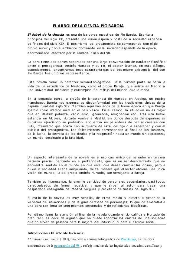 EL ARBOL DELA CIENCIA-PÍO BAROJA El árbol de la ciencia es una de las obras maestras de Pío Baroja. Escrita a principios d...