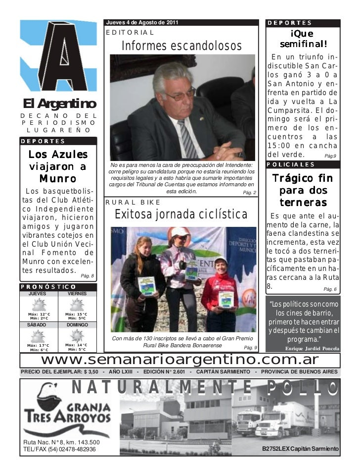 Jueves 4 de Agosto de 2011                                       DEPORTES                              EDITORIAL          ...