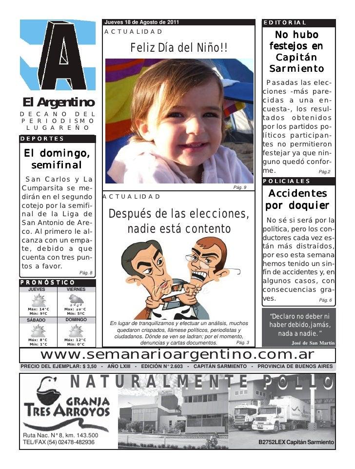 Jueves 18 de Agosto de 2011                                      EDITORIAL                              ACTUALIDAD        ...
