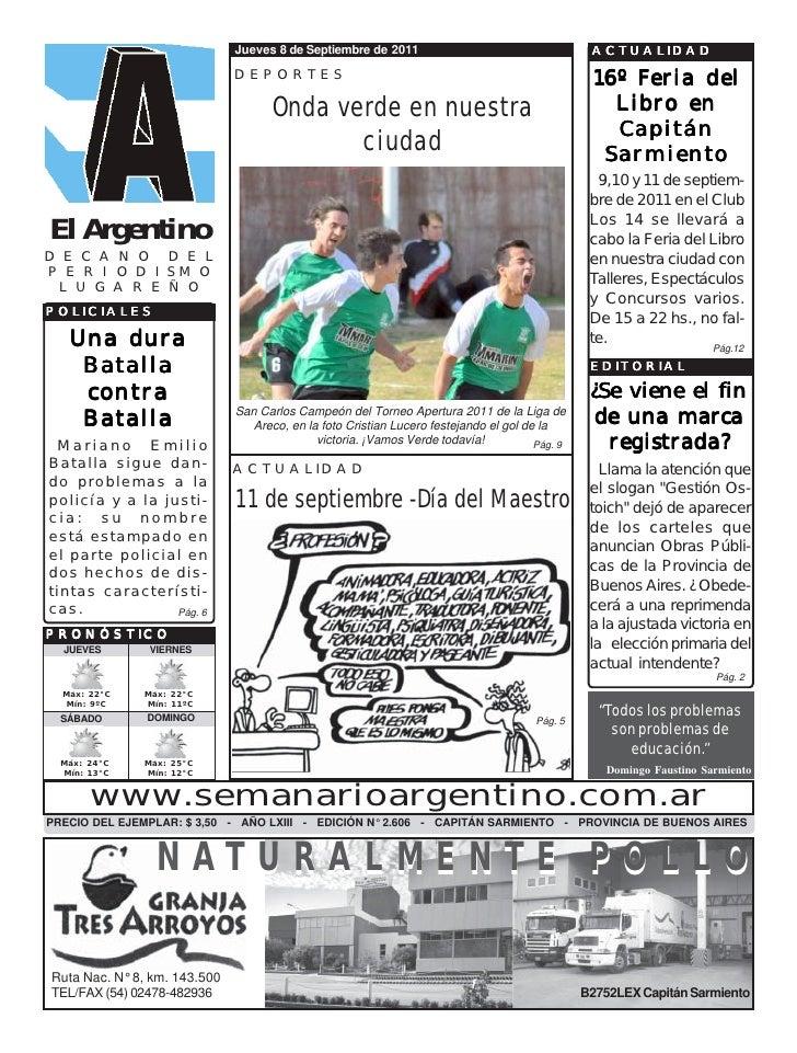 Jueves 8 de Septiembre de 2011                                     ACTUALIDAD                              DEPORTES       ...