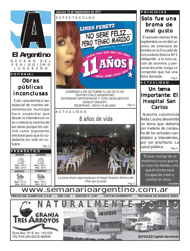Jueves 15 de Septiembre de 2011                              POLICIALES                              ESPECTÁCULOS         ...