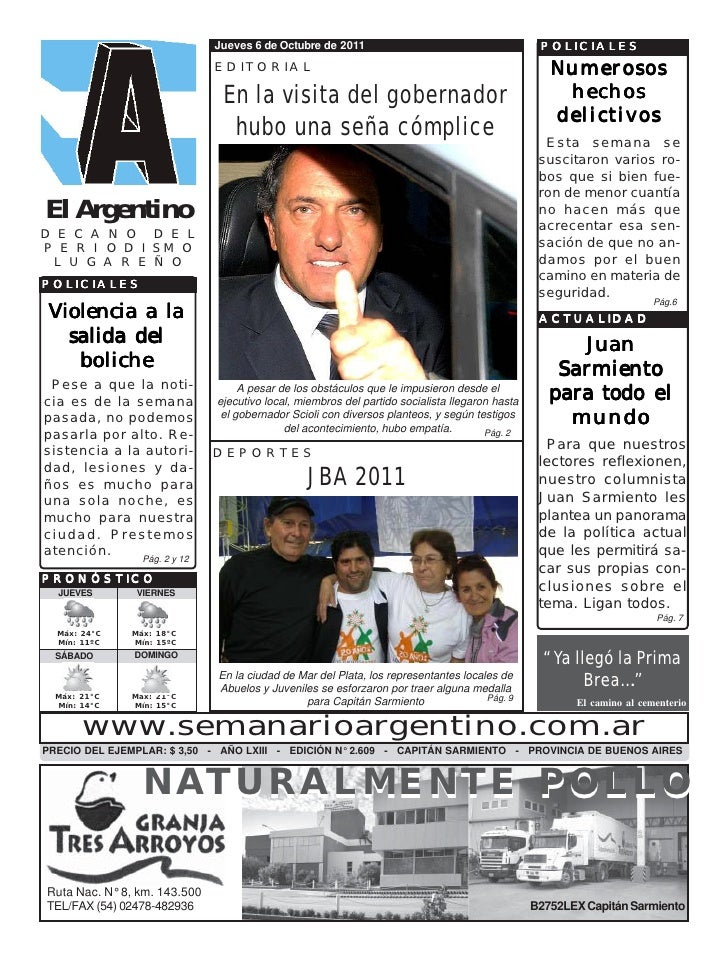 Jueves 6 de Octubre de 2011                                        POLICIALES                              EDITORIAL      ...