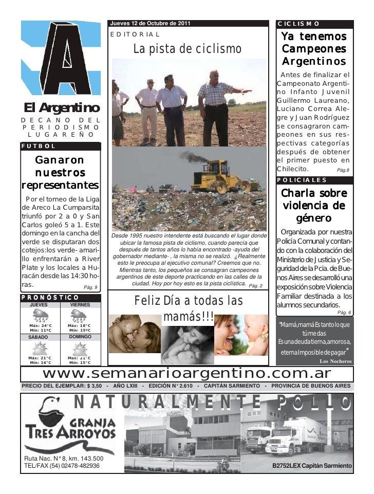 Jueves 12 de Octubre de 2011                                       CICLISMO                              EDITORIAL        ...