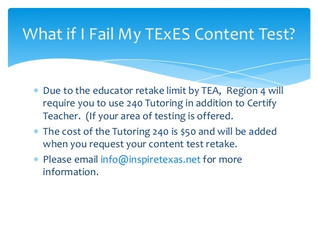 Important Information Concerning the TEXES Certification Exam