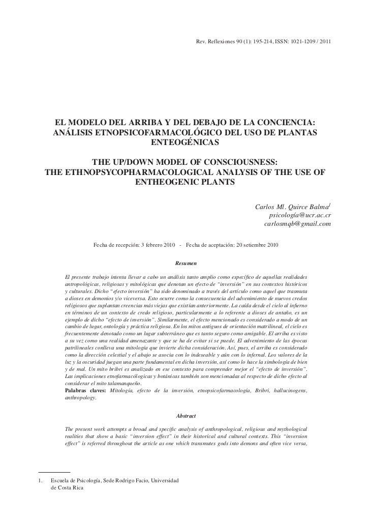 Rev. Reflexiones 90 (1): 195-214, ISSN: 1021-1209 / 2011      EL MODELO DEL ARRIBA Y DEL DEBAJO DE LA CONCIENCIA:      ANÁ...