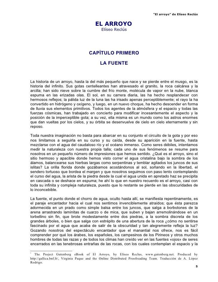 """""""El arroyo"""" de Elíseo Reclús                                            EL ARROYO              *                          ..."""