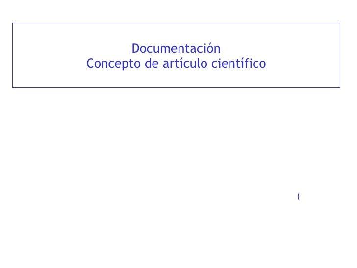 Documentación Concepto de artículo científico (