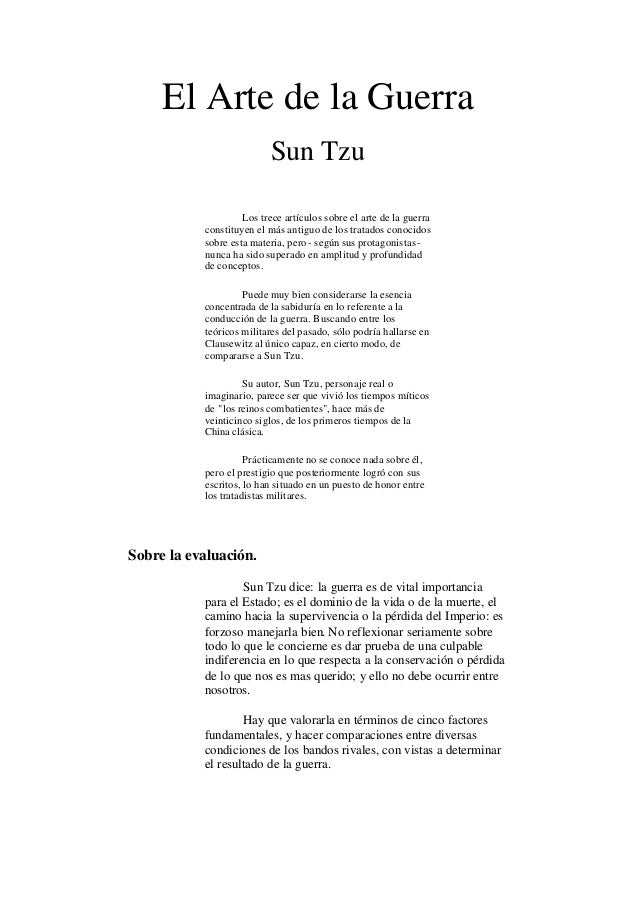El Arte de la Guerra                           Sun Tzu                    Los trece artículos sobre el arte de la guerra  ...