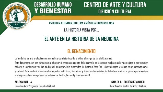 CENTRO DE ARTE Y CULTURA DIFUSIÓN CULTURAL PROGRAMA FORMAR CULTURA ARTÍSTICA UNIVERSITARIA LA HISTORIA VISTA POR… EL ARTE ...