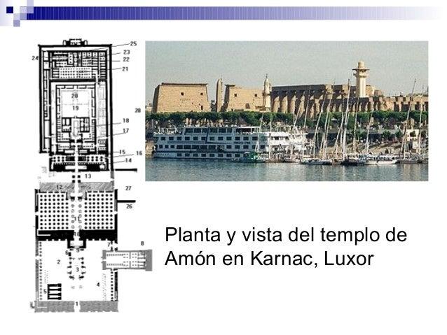 Planta y vista del templo de Amón en Karnac, Luxor