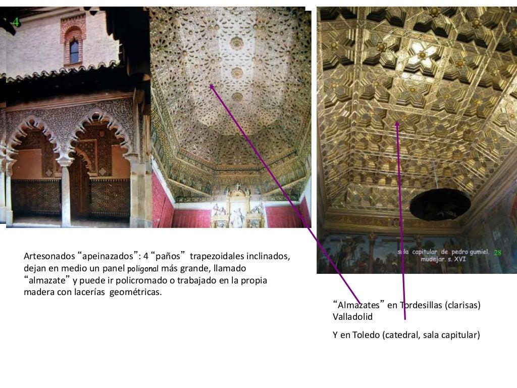 Las yeserías constituyen verdaderos tapices decorativos en los muros de palacios y capillas, fundiéndose motivos islámicos...