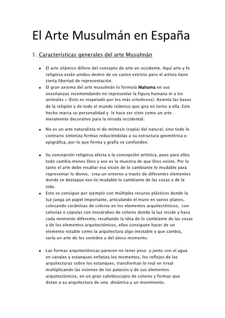 El Arte Musulmán en España<br />Características generales del arte Musulmán<br />El arte islámico difiere del concepto de ...