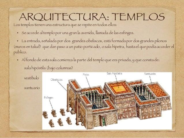 ARQUITECTURA: TEMPLOS Los templos tienen una estructura que se repite en todos ellos: • Se accede al templo por una gran l...