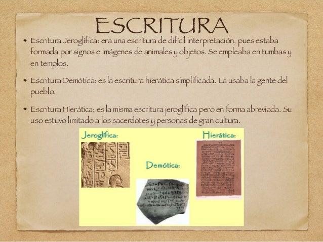 ESCRITURAEscritura Jeroglífica: era una escritura de difícil interpretación, pues estaba formada por signos e imágenes de ...
