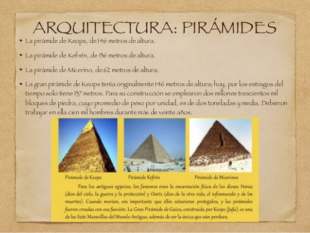 ARQUITECTURA: PIRÁMIDES La pirámide de Keops, de 146 metros de altura. La pirámide de Kefrén, de 136 metros de altura. La ...