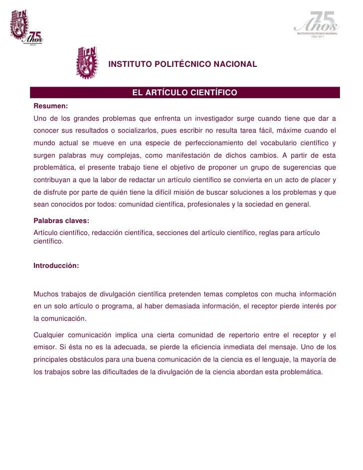 INSTITUTO POLITÉCNICO NACIONAL                                 EL ARTÍCULO CIENTÍFICOResumen:Uno de los grandes problemas ...