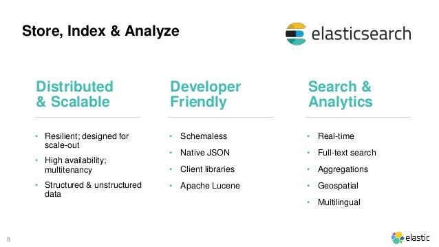 8 Store, Index & Analyze • Resilient; designed for scale-out • High availability; multitenancy • Structured & unstructured...