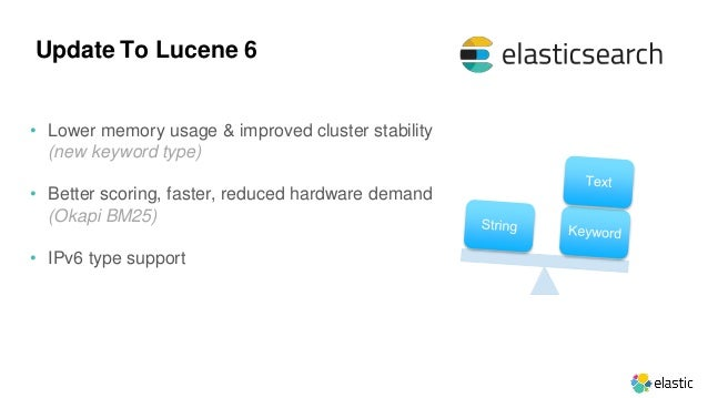 • Lower memory usage & improved cluster stability (new keyword type) • Better scoring, faster, reduced hardware demand (Ok...