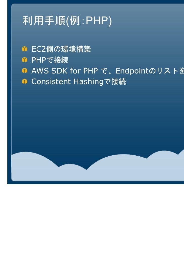 利用手順(例:PHP) EC2側の環境構築 PHPで接続 AWS SDK for PHP で、Endpointのリストを取得 Consistent Hashingで接続