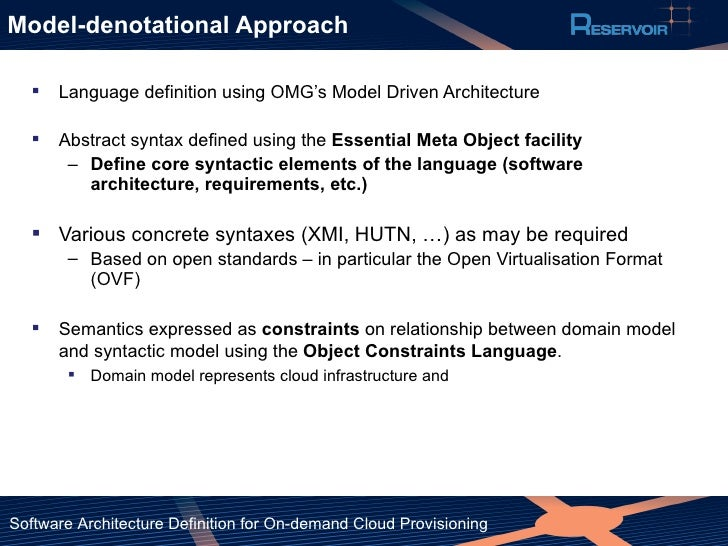 Software Architecture Definition for On-demand Cloud