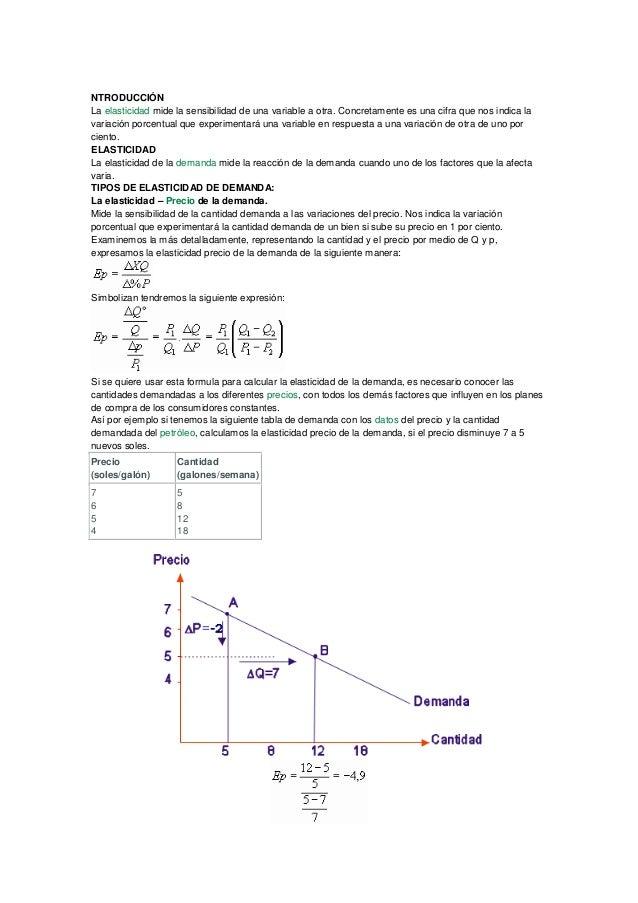 NTRODUCCIÓN La elasticidad mide la sensibilidad de una variable a otra. Concretamente es una cifra que nos indica la varia...