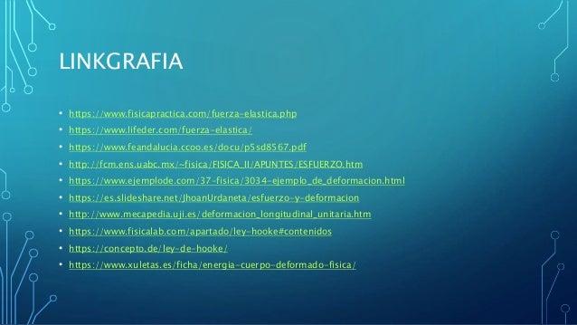 LINKGRAFIA • https://www.fisicapractica.com/fuerza-elastica.php • https://www.lifeder.com/fuerza-elastica/ • https://www.f...