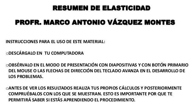RESUMEN DE ELASTICIDAD PROFR. MARCO ANTONIO VÁZQUEZ MONTES INSTRUCCIONES PARA EL USO DE ESTE MATERIAL: oDESCÁRGALO EN TU C...