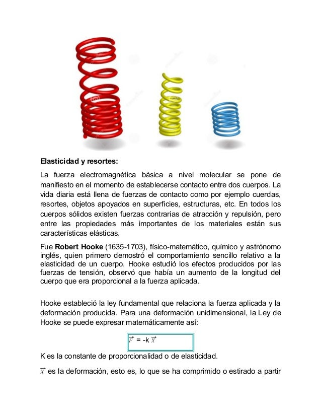 Elasticidad y resortes: La fuerza electromagnética básica a nivel molecular se pone de manifiesto en el momento de estable...