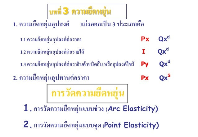 1. ความยืดหยุ่นอุปสงค์ แบ่งออกเป็น 3 ประเภทคือ 1.1 ความยืดหยุ่นอุปสงค์ต่อราคา Px Qxd 1.2 ความยืดหยุ่นอุปสงค์ต่อรายได้ I Qx...