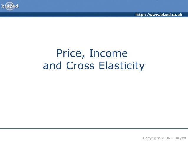 http://www.bized.co.uk  Price, Income and Cross Elasticity  Copyright 2006 – Biz/ed