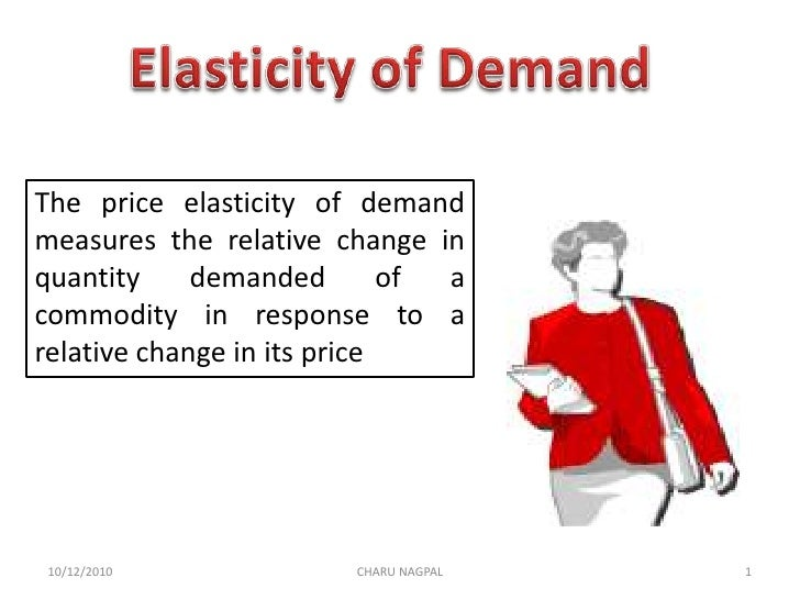 Elasticity of Demand<br />The price elasticity of demand measures the relative change in quantity demanded of a commodity ...