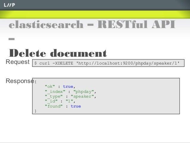 "elasticsearch – RESTful API–Delete document$ curl -XDELETE http://localhost:9200/phpday/speaker/1{""ok"" : true,""_index"" : ""..."