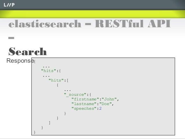 "elasticsearch – RESTful API–Search{...""hits"":{...""hits"":[{...""_source"":{""firstname"":""John"",""lastname"":""Doe"",""speeches"":2}}..."