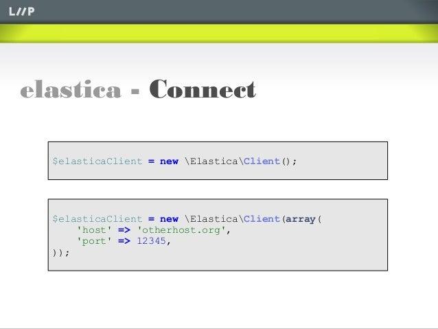 elastica - Connect$elasticaClient = new ElasticaClient();$elasticaClient = new ElasticaClient(array(host => otherhost.org,...