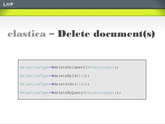 elastica – Delete document(s)$elasticaType->deleteDocument($elasticaDoc);$elasticaType->deleteById($id);$elasticaType->del...