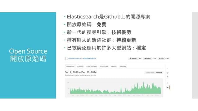 OpenSource 開放原始碼  Elasticsearch是Github上的開源專案  開放原始碼:免費  新一代的搜尋引擎:技術優勢  擁有龐大的活躍社群:持續更新  已被廣泛應用於許多大型網站:穩定