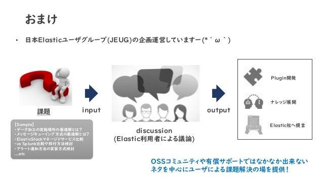 おまけ • 日本Elasticユーザグループ(JEUG)の企画運営していますー(*´ω`) input課題 【Sample】 ・データ加工の実施場所の最適解とは? ・メッセージキューイング方式の最適解とは? ・ElasticStackマネージド...