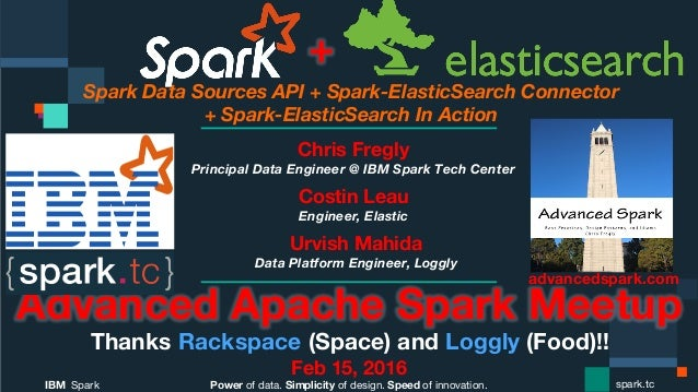 Power of data. Simplicity of design. Speed of innovation. IBM Spark  spark.tc Spark Data Sources API + Spark-ElasticSearch...