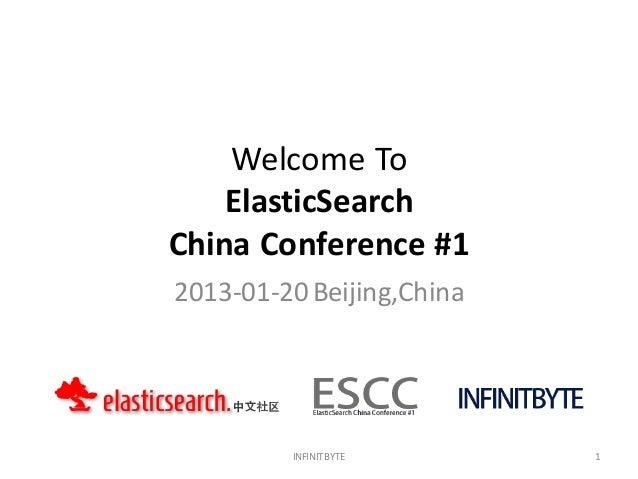 Welcome To    ElasticSearchChina Conference #12013-01-20 Beijing,China         INFINITBYTE       1