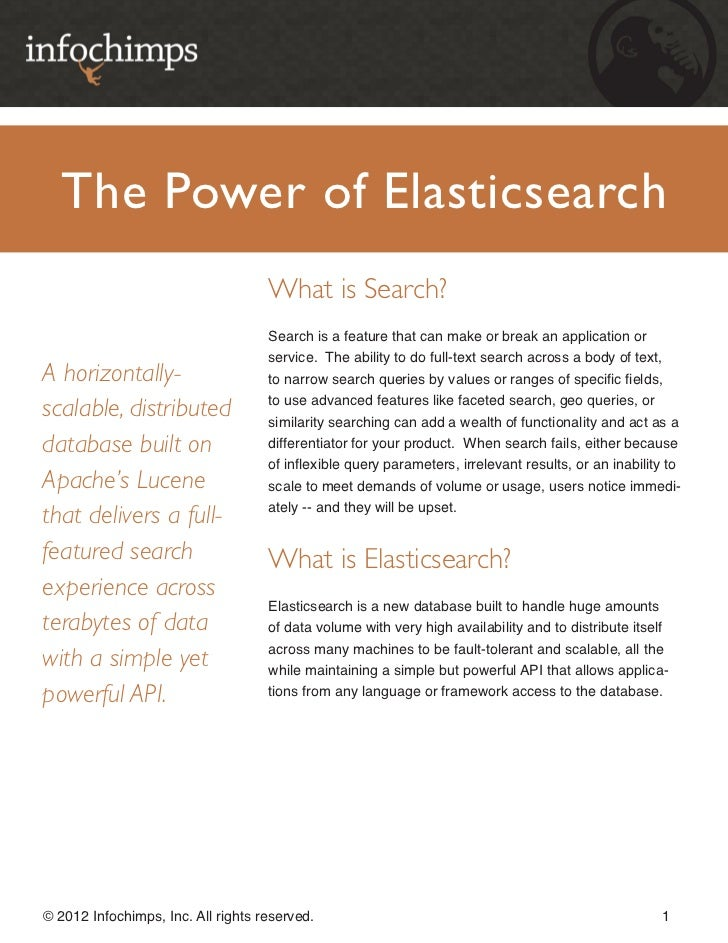 The Power of Elasticsearch                                    What is Search?                                    Search is...