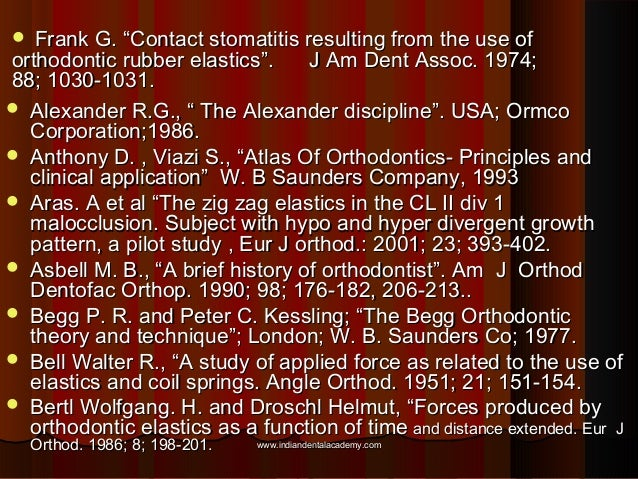 """Frank G. """"Contact stomatitis resulting from the use of orthodontic rubber elastics"""". J Am Dent Assoc. 1974; 88; 1030-1031...."""